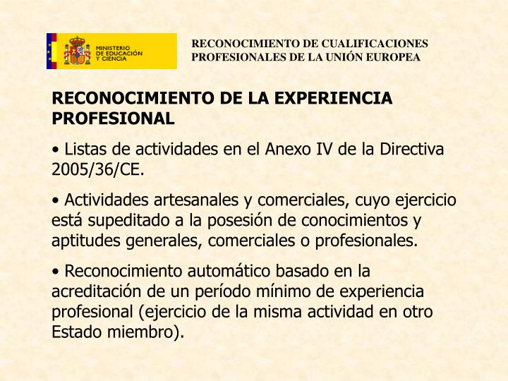 RECONOCIMIENTO DE LA EXPERIENCIA PROFESIONAL