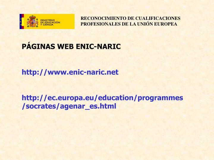 PÁGINAS WEB ENIC-NARIC