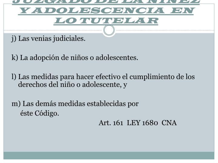 JUZGADO DE LA NIÑEZ Y ADOLESCENCIA  EN LO TUTELAR