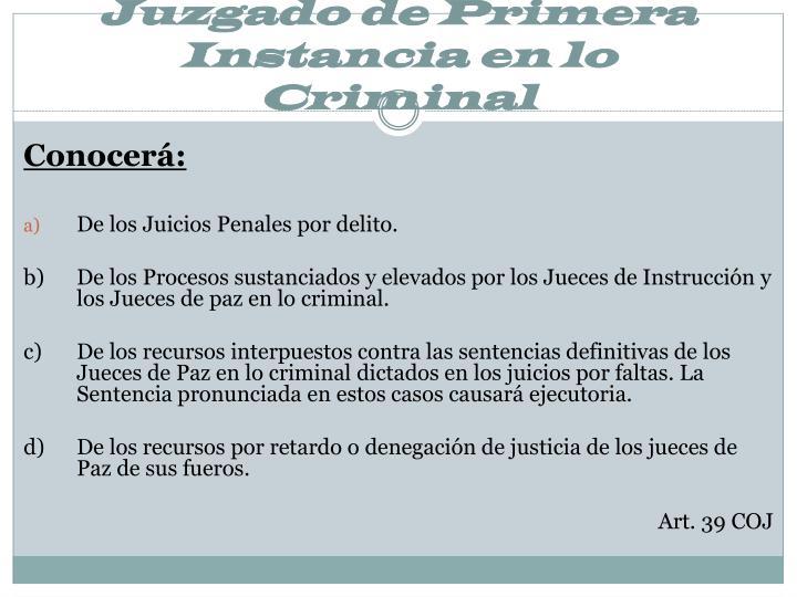 Juzgado de Primera Instancia en lo Criminal