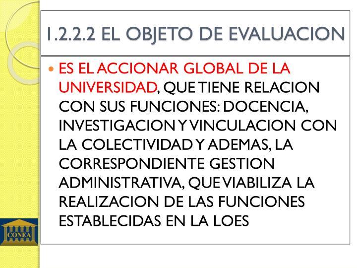 1.2.2.2 EL OBJETO DE EVALUACION
