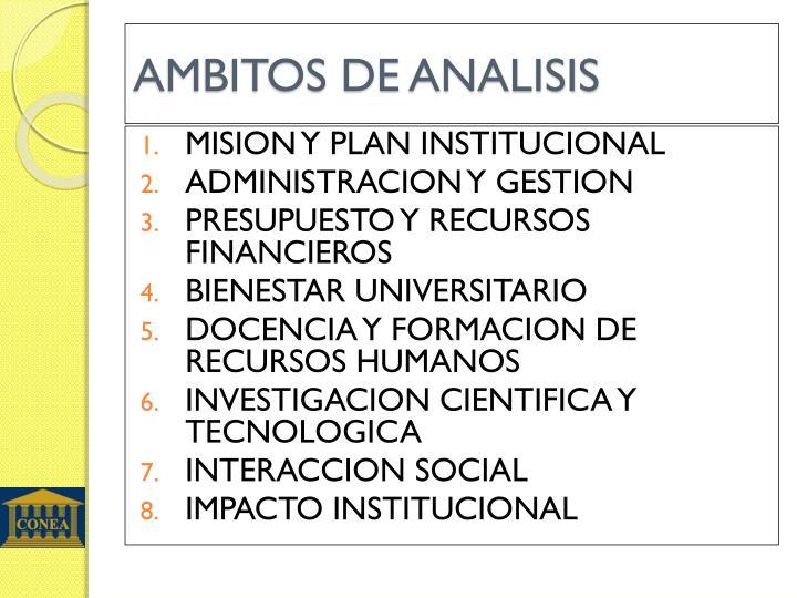 AMBITOS DE ANALISIS