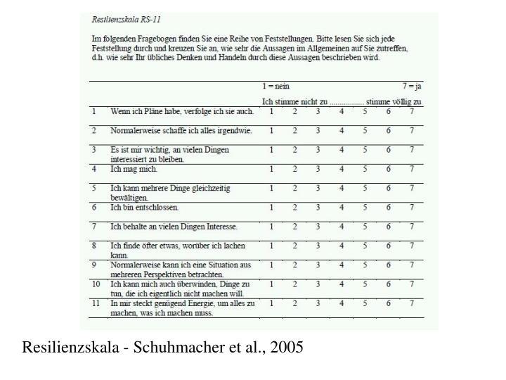 Resilienzskala - Schuhmacher et al., 2005