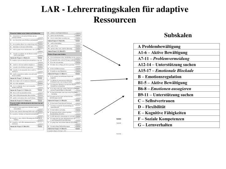 LAR - Lehrerratingskalen für adaptive Ressourcen