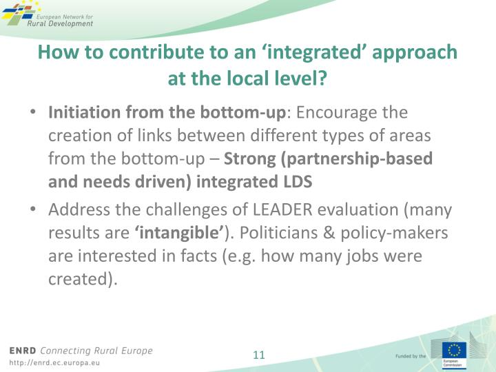 How to contribute to an 'integrated' approach at the local level?
