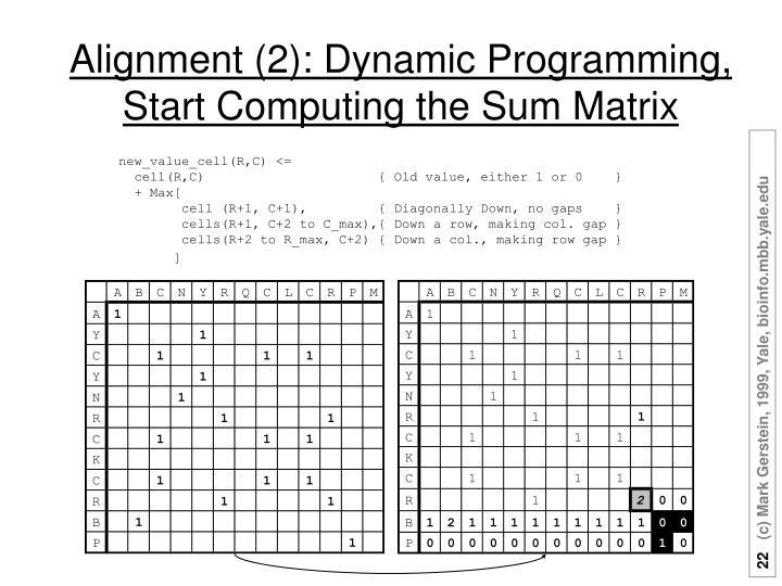 Alignment (2): Dynamic Programming,