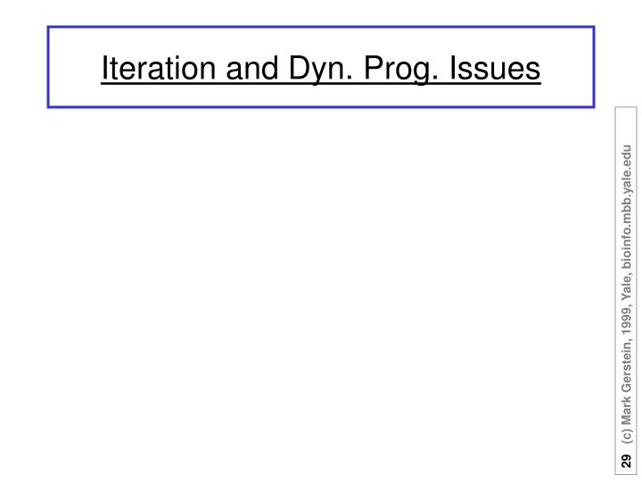 Iteration and Dyn. Prog. Issues
