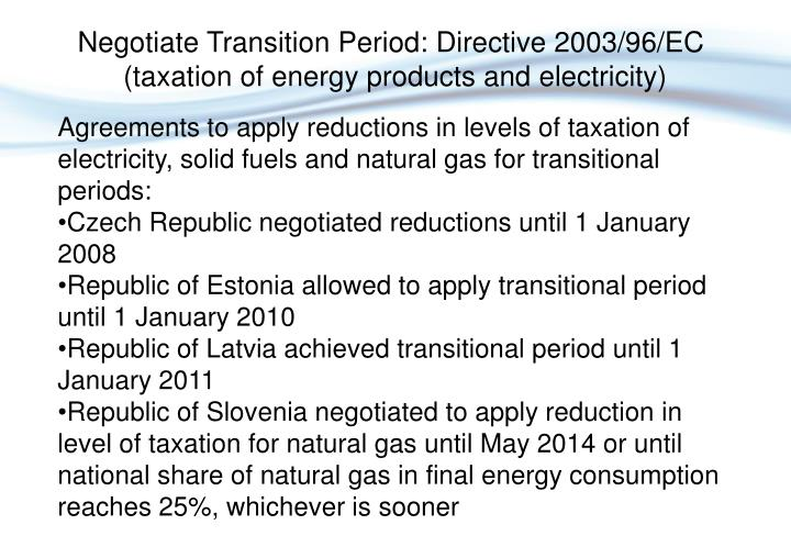Negotiate Transition Period: Directive 2003/96/EC