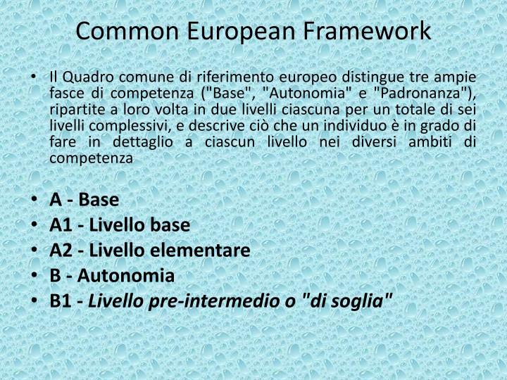 Common european framework