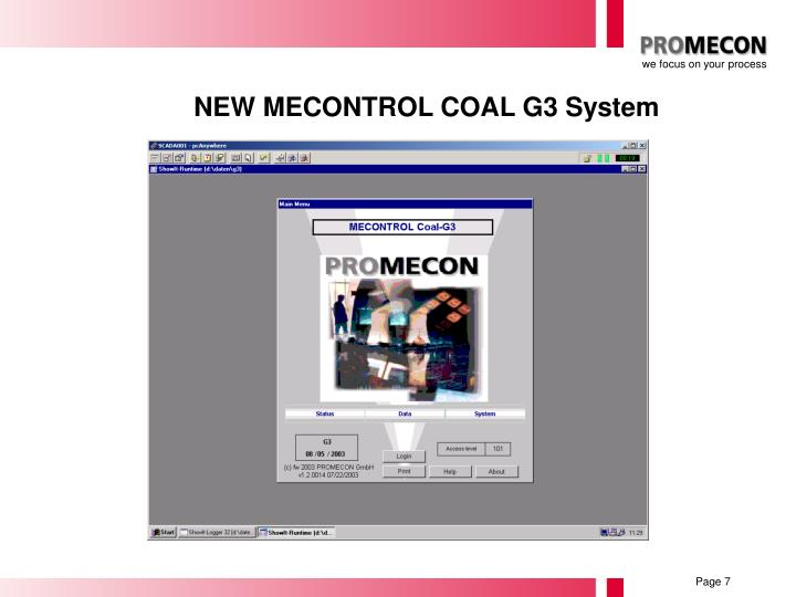 NEW MECONTROL COAL G3 System
