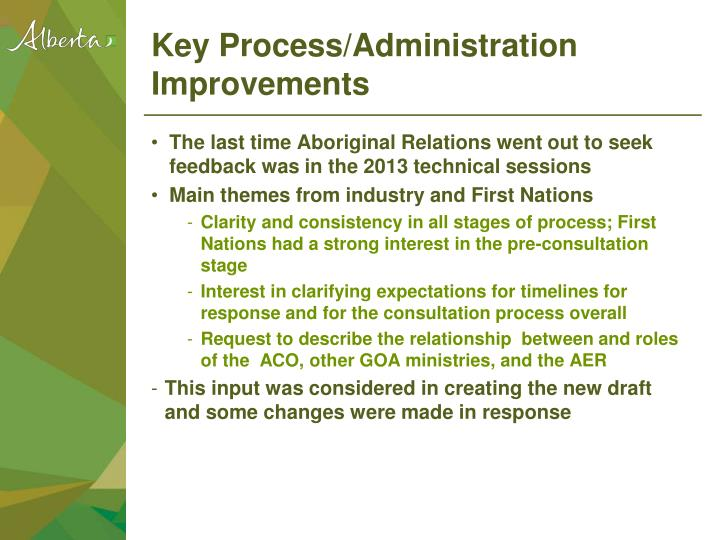 Key Process/Administration Improvements