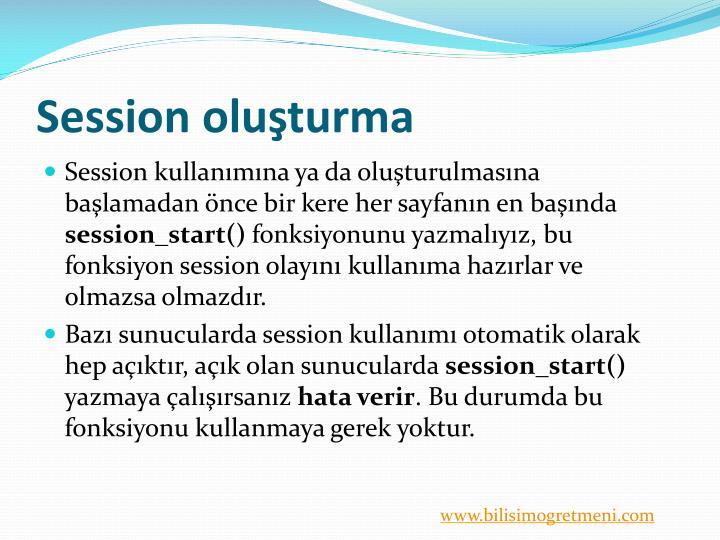 Session oluşturma