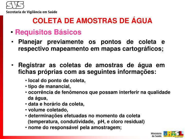 COLETA DE AMOSTRAS DE ÁGUA