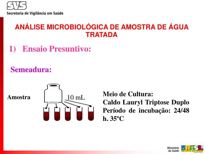 ANÁLISE MICROBIOLÓGICA DE AMOSTRA DE ÁGUA TRATADA