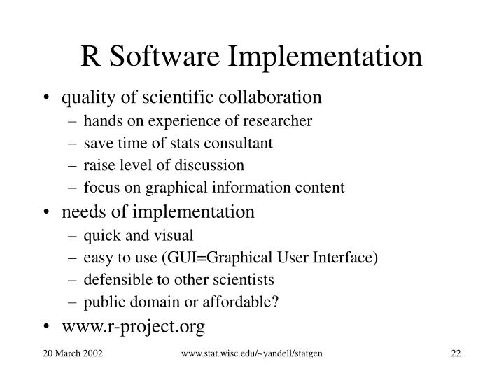R Software Implementation