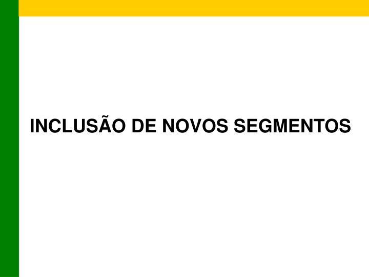 INCLUSÃO DE NOVOS SEGMENTOS