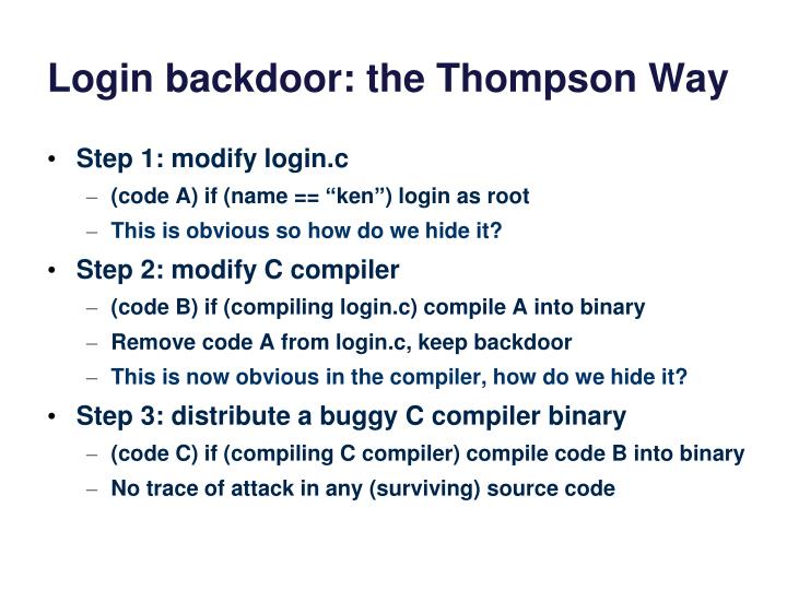 Login backdoor: the Thompson Way