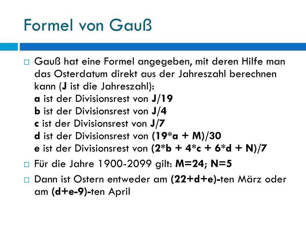 Berechnung Ostern Formel