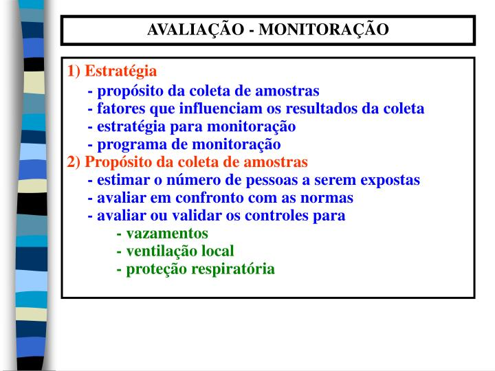 AVALIAÇÃO - MONITORAÇÃO