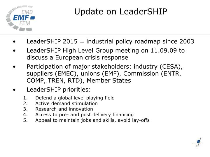 LeaderSHIP 2015 = industrial policy roadmap since 2003