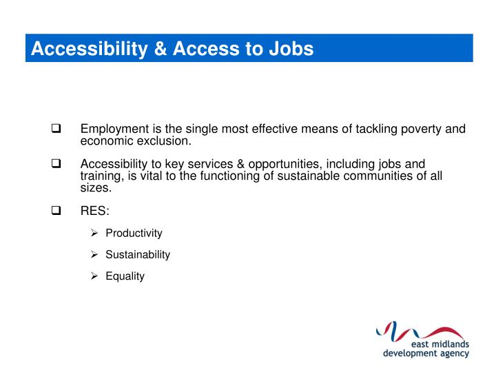 Accessibility & Access to Jobs