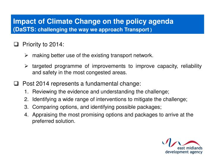 Impact of Climate Change on the policy agenda