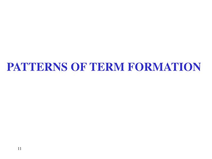 PATTERNS OF TERM FORMATION