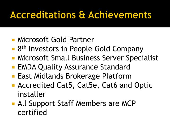Accreditations achievements