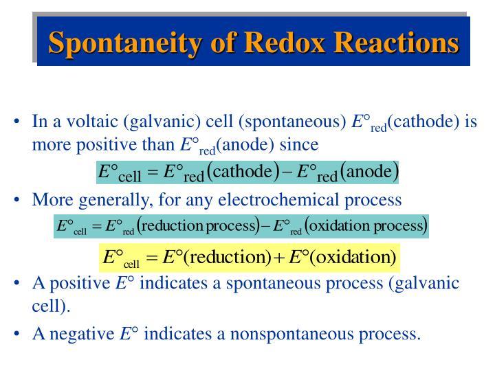 Spontaneity of Redox Reactions