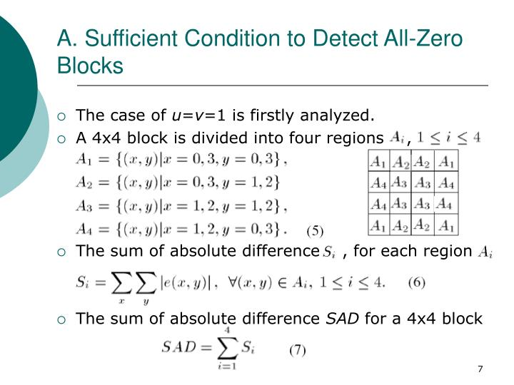 A. Sufficient Condition to Detect All-Zero Blocks