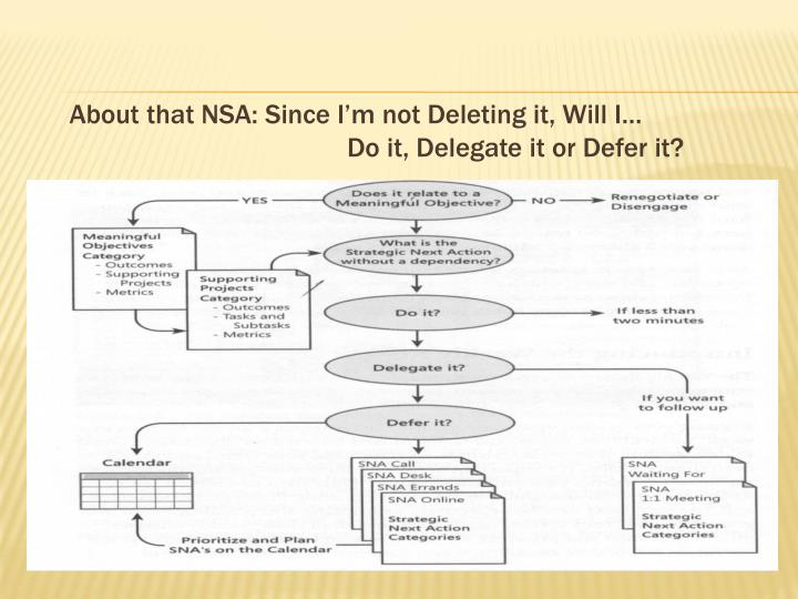 About that NSA: Since I'm not Deleting it, Will I…