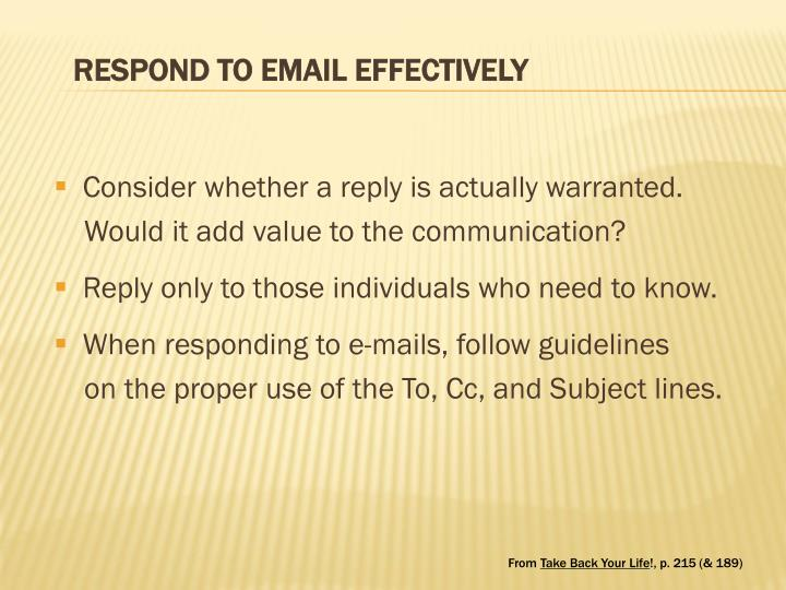 RESPOND TO EMAIL EFFECTIVELY