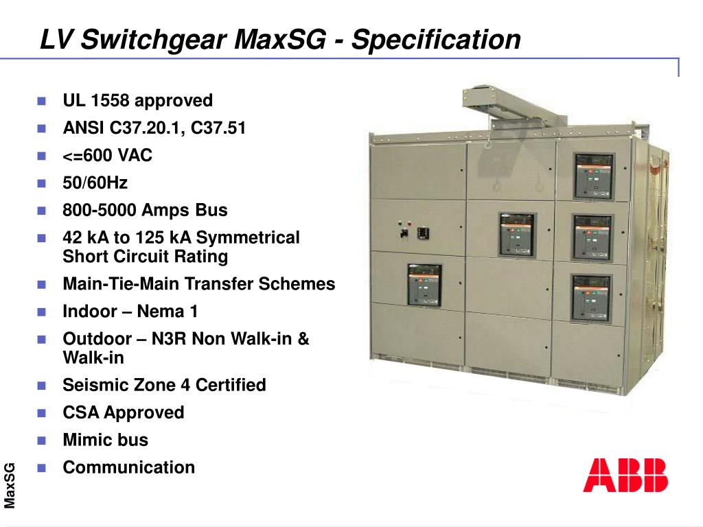Ppt Maxsg Low Voltage Switchgear Automation Technology