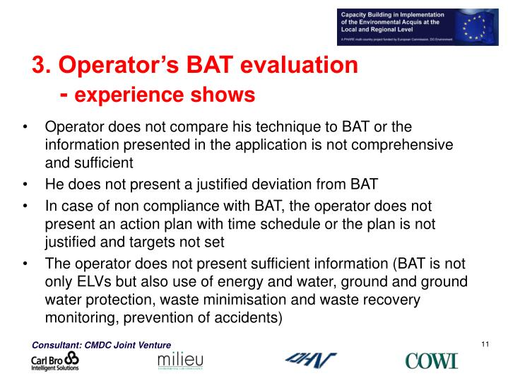 3. Operator's BAT evaluation