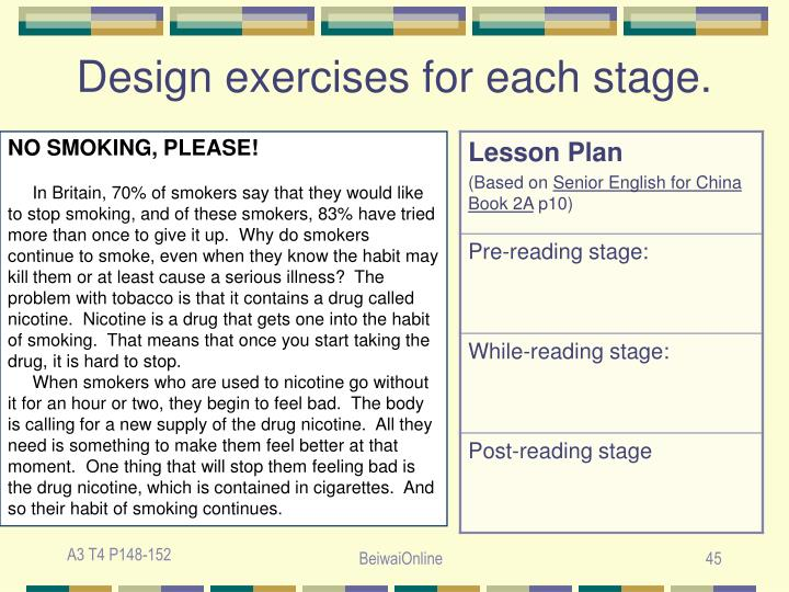 Design exercises for each stage.