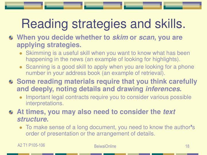 Reading strategies and skills.