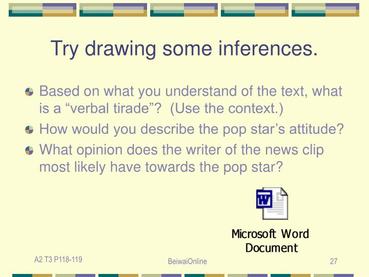 Try drawing some inferences.