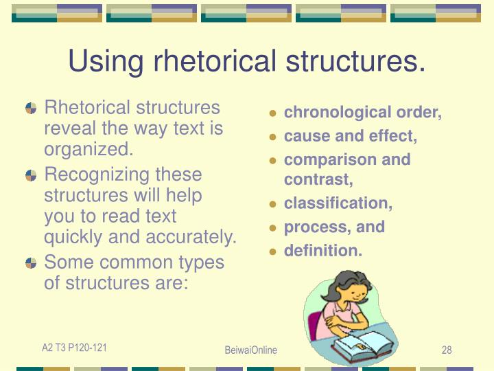 Rhetorical structures reveal the way text is organized.