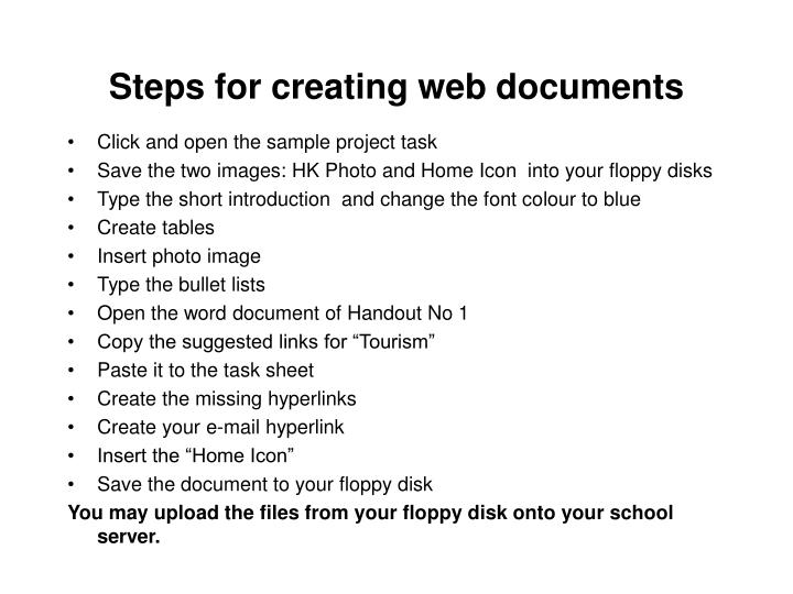 Steps for creating web documents