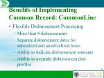 benefits of implementing common record commonline2