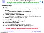 applications and deployments design requirements in commercial verifiers