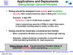 applications and deployments dialog design general principles