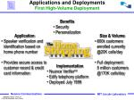 applications and deployments first high volume deployment