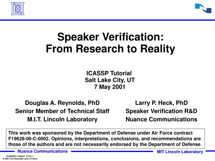 speaker verification from research to reality n.
