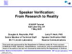 speaker verification from research to reality
