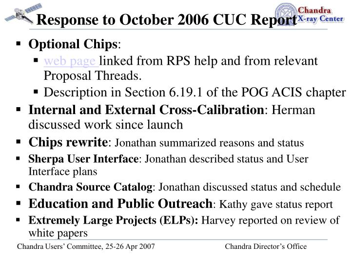 Response to October 2006 CUC Report