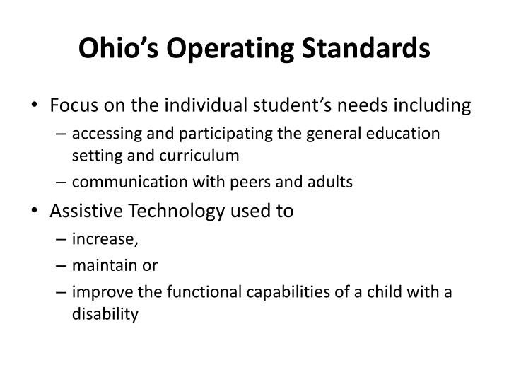 Ohio's Operating Standards