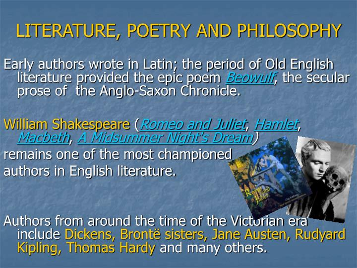 LITERATURE, POETRY AND PHILOSOPHY