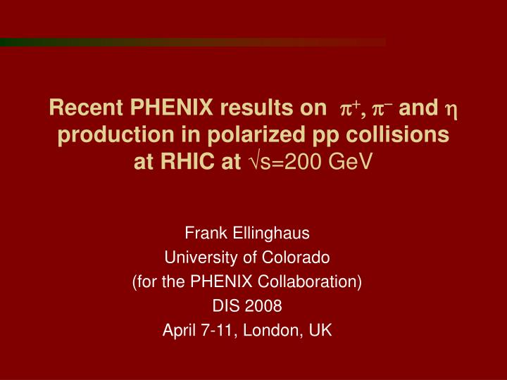 Recent phenix results on p p and h production in polarized pp collisions at rhic at s 200 gev