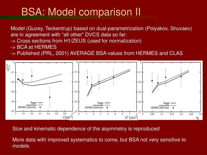 BSA: Model comparison II